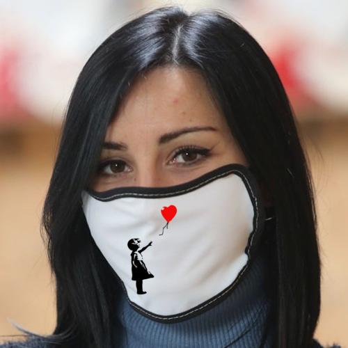 Mascherina in poliestere con bordo colorato Banksy - Balloon Girl Bikerella