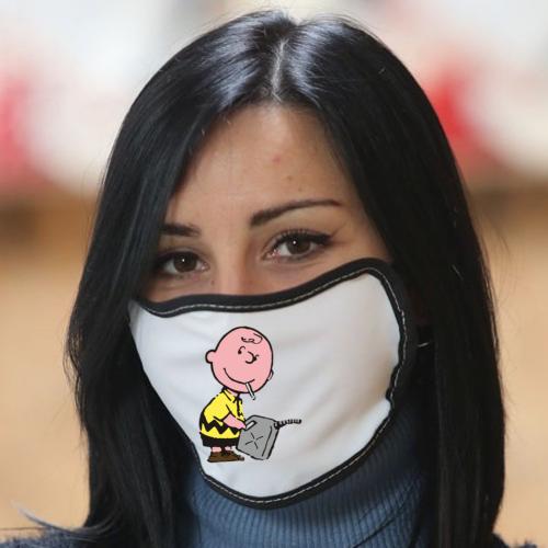 Mascherina in poliestere con bordo colorato Banksy - Charlie Brown Bikerella